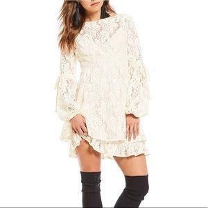 Free People White Lace Mini Dress